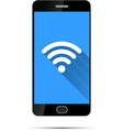 Realistic black smartphone with wifi icon on blue vector image