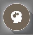 thinking head sign white icon on brown vector image