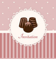 Vintage invitation card with chocolate candies vector image