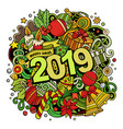 2019 doodles new year objects vector image vector image