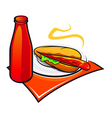 appetizing hotdog with ketchup vector image
