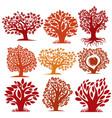 art drawn autumn season trees with ripe apples vector image