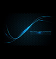 blue line light curve on dark hexagon mesh vector image vector image