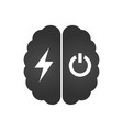 brain with lightning or charging and turn off vector image