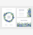 bundle romantic wedding invitation save the vector image