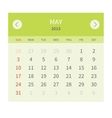 Calendar monthly may 2015 in flat design vector image vector image