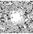 cartoon doodles back to school frame vector image vector image