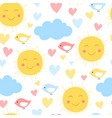 cartoon sun cloud heart and bird background vector image