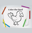 children bird coloring worksheet vector image vector image