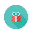 Christmas Stripped Present Box Flat Icon vector image
