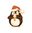 cute arctic penguine in santa hat with ice cream vector image