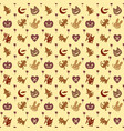cute hallowen pattern background with brown color vector image