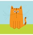 Cute red orange cartoon cat Big mustache whisker vector image vector image