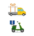 Delivery transport gift box truck and scooter vector image vector image