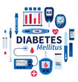 diabetes flat infographic elements set in vector image vector image