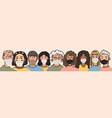 diverse faces people set human avatars vector image