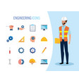 engineer man with set icons working vector image vector image