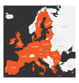 european union map orange marked eu member states vector image vector image