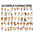 Fifty simple character doing different activities vector image vector image