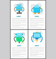 friendly robots on wheels with long limbs set vector image