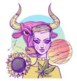 girl symbolizes the zodiac sign taurus pastel vector image vector image