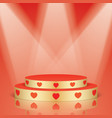 golden scene with red hearts and lighting vector image vector image
