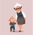 grandmother walking grandson cartoon vector image