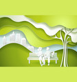 green tree and family vector image