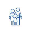 happy family line icon concept happy family flat vector image vector image