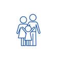 happy family line icon concept happy family flat vector image