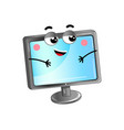 happy lcd monitor cartoon character vector image vector image