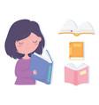 international literacy day cute little girl vector image vector image