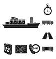 logistics service black icons in set collection vector image vector image