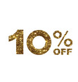 luxury golden glitter ten percent off special vector image vector image