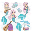 mermaid kids school autumn sea underwater vector image vector image