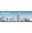 Miami Skyline with Gray Buildings and Blue Sky vector image vector image