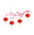 new year red lantern on white background vector image vector image