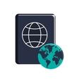 passport and earth globe icon vector image