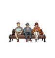 people sit on the bench pensioner woman and man vector image
