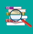 pile of books and magnifying glass vector image vector image