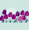 purple tulip flowers with geometry texture pattern vector image vector image