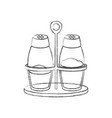 salt and pepper containers monochrome blurred vector image vector image