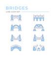 set color line icons bridges vector image