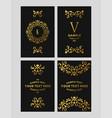 set floral logo frame and monogram golden on vector image