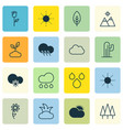 set of 16 landscape icons includes raindrop vector image vector image