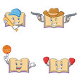 set of open book character with baseball cowboy vector image vector image