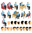 sitting man creation set vector image vector image