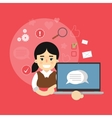 Social media banner Girl with laptop vector image