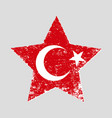 star shaped grunge turkish flag vector image vector image