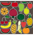 stickers of fruit and vegetarian set vector image